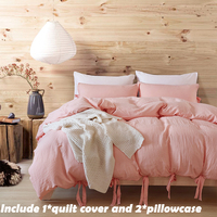 EHOMEBUY Bedding Sets Fashion Pink Cotton Bandage 2 Pillowcase And 1 Quilt Cover Home Bed Set