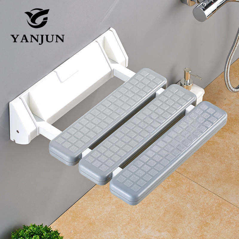 YANJUN Folding Wall Shower Seat  Wall Mounted Relaxation Shower Chair Solid Seat Spa Bench Saving Space Bathroom  YJ-2030 bathroom folding seat shower stool shower wall chair stool old people anti skid toilet stool bath wall chair