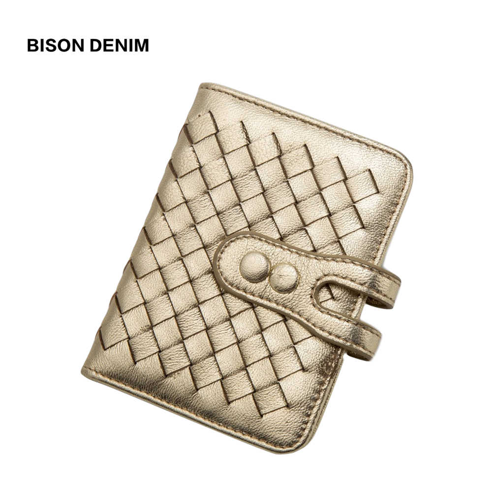 BISON DENIM Cowhide Leather Women Wallets Hasp Card Holder Wallet Weaving Design Portefeuille Femme N9313