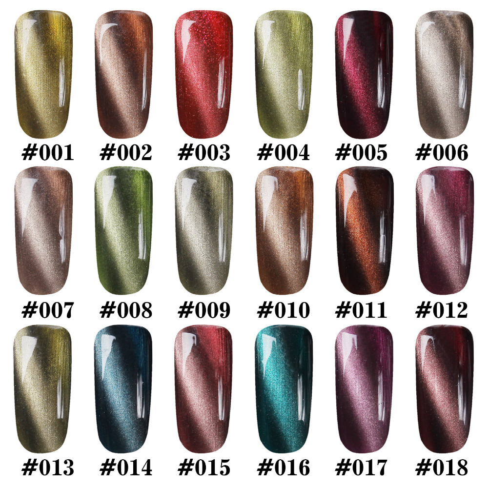 Gel Len Magnetic 3D Cat Eyes Gel Nail Polish Dark Red Color UV Soak ...