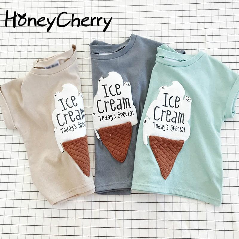 Children's Summer T-shirt Wear Short Sleeved T-shirt Boy Ice Cream Cartoon Half Girl Cotton Blouses Tops Baby Girl Clothes half button lace insert t shirt