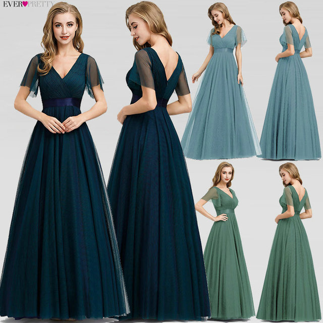 Plus Size Blue Prom Dress 2020 Ever Pretty EP07962 Elegant V-Neck Tulle Women Sexy Long Prom Dresses Formal Summer Party Gowns 2