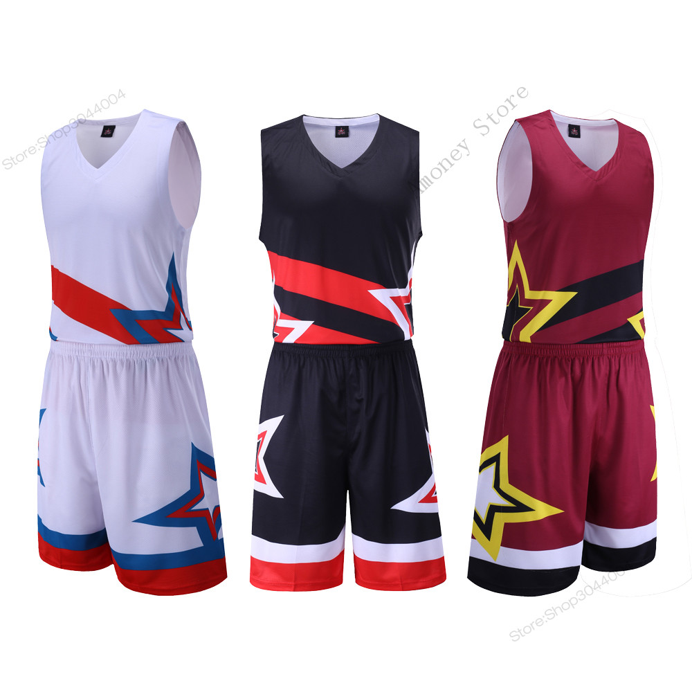 Adsmoney 3 Colors Men's Exquisite star pattern <font><b>jersey</b></font> Set all star <font><b>usa</b></font> training basketball <font><b>jersey</b></font> suit Breathable Sports Kits image