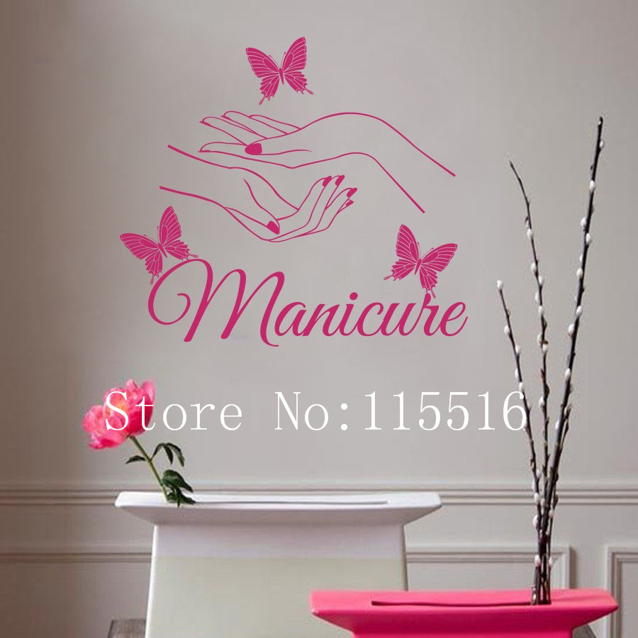 E139 vinyl wall sticker beauty nail art manicure wall for Room decor 5d stickers