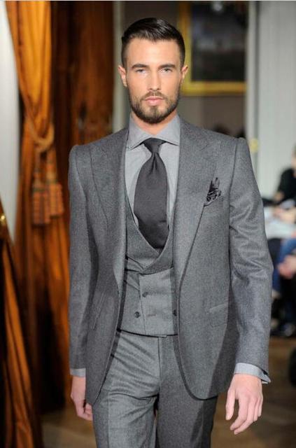 862d262d44b2 2017 Latest Coat Pant Designs Grey Tweed Men Suit Formal Skinny Classic  Modern Custom Simple Blazer
