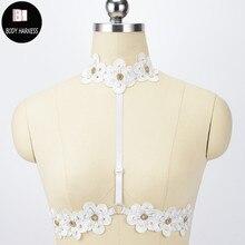 Женское свадебное платье с кружевными цветами на бретельках, женский топ на бретельках, ожерелье с открытой грудной клеткой, бюстгальтер в стиле Харадзюку