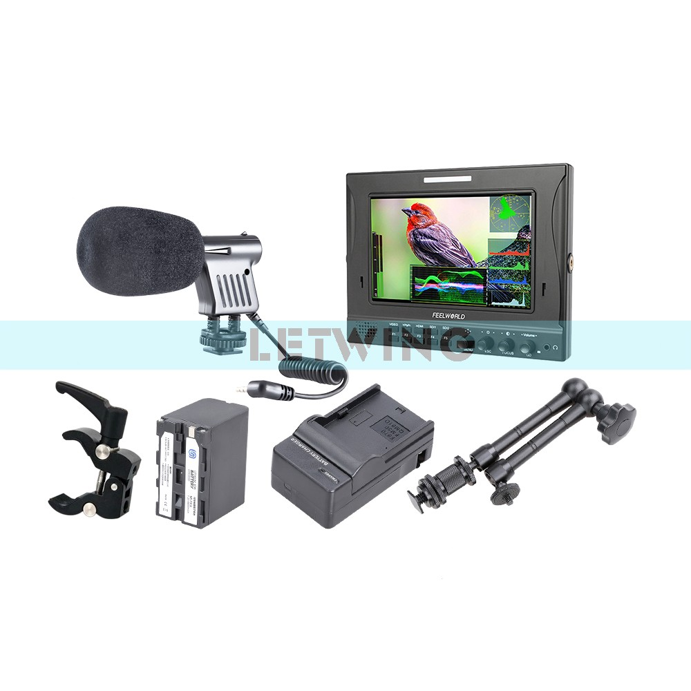 FEELWORLD FW-789 7 Dual 3G-SDI On-Camera Field Monitor + NP-F970 Battery Charger + 11 Magic Arm + Super Clamp + Microphone