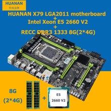 HUANAN X79 MOTHERBOARD-FREIES CPU RAM set X79 C2.49 LGA2011 motherboard Xeon E5 2660 V2 10 cores 20 themen RAM 8G (2*4G) DDR3 1333 RECC