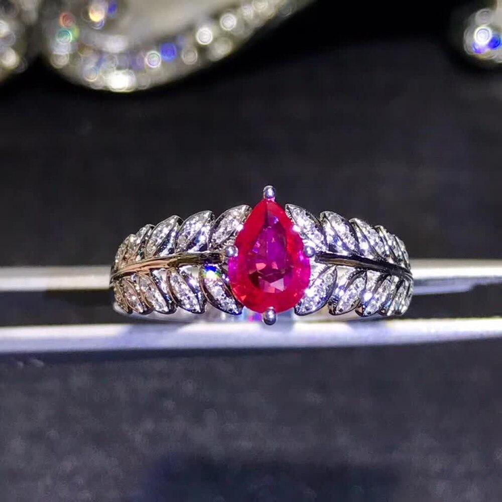 Bijoux en pierres précieuses usine en gros classique de luxe 18 k or jaune véritable diamant naturel rubis bague en or pour les femmes de mariage