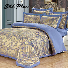 SILK PLACE Family Bedding Kit Plaid Bedspreads Euro Bedclothes Satin Bedding Sets Duvet Cover Sheet Cotton On The Bed Coverlet