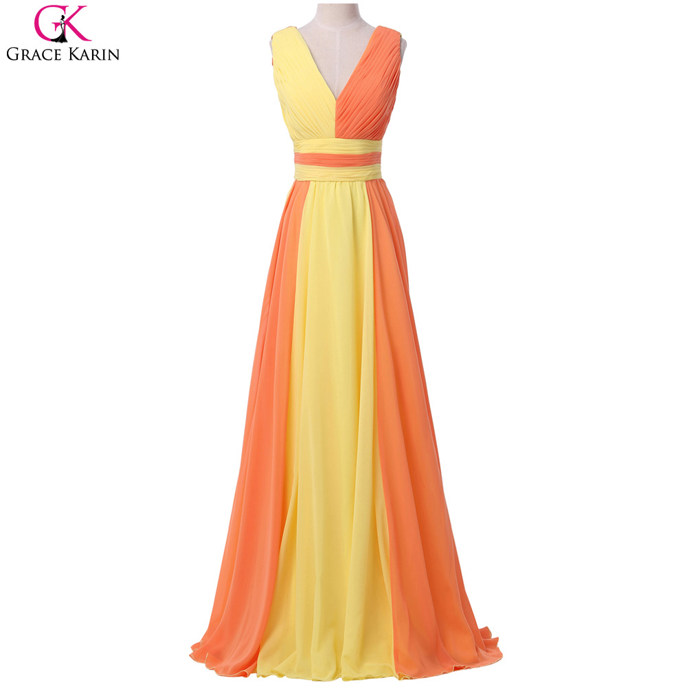 2907b5a88a6f Grace Karin Prom Dresses Yellow Orange Black Pink V Neck Ombre Chiffon Long  Elegant Formal Gowns Party Special Occasion Dresses-in Prom Dresses from ...