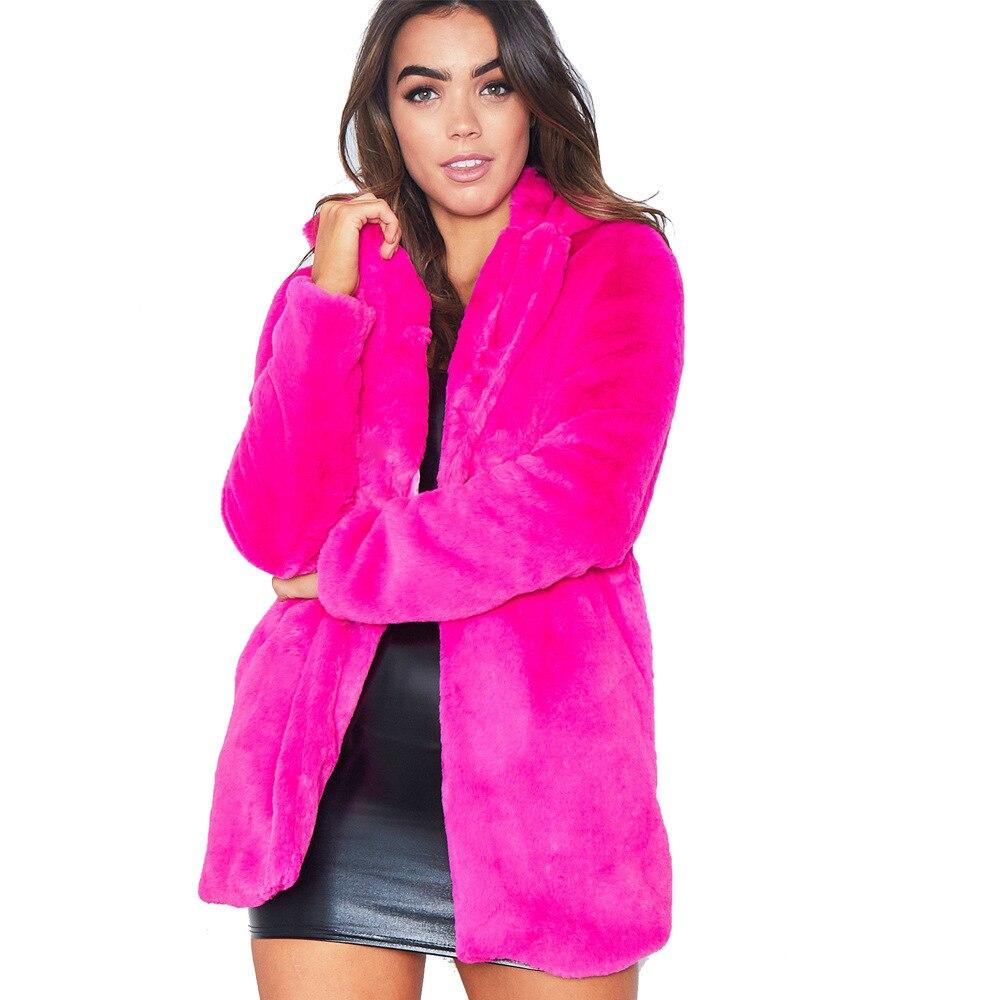 Rose De color Color Hiver As Outwear Oversize Élégant Femelle Fourrure Doux Faux Picture Manteau Picture Veste Nouveau Plus Chaud Femmes 2018 Dames Automne New Size Casual q16vwSv