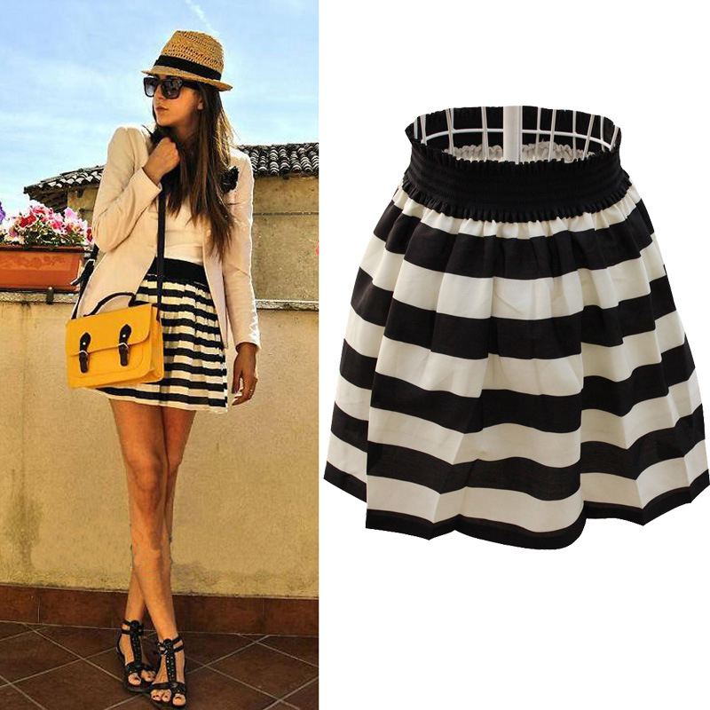 2016 New Spring And Summer Black And White Navy Stripe A