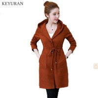 Large Plus Size L 5XL Spring Women Knitting Hooded Sweater Coat 2018 Autumn Fashion Mid Long Pure Color Cardigan Female Sweate