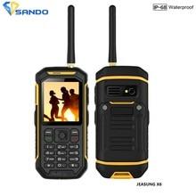 JEASUNG X6 IP68 Wasserdichte Robuste Handy UHF Walkie Talkie Funktion IP67 2500 mah 2,4 Zoll Dual-sim-karte GSM mit Taschenlampe X1