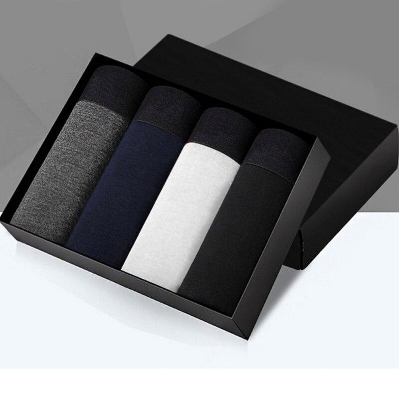 4pcs/lot Male Panties Cotton Men's Underwear Boxers Breathable Man Boxer Solid Underpants Comfortable Brand