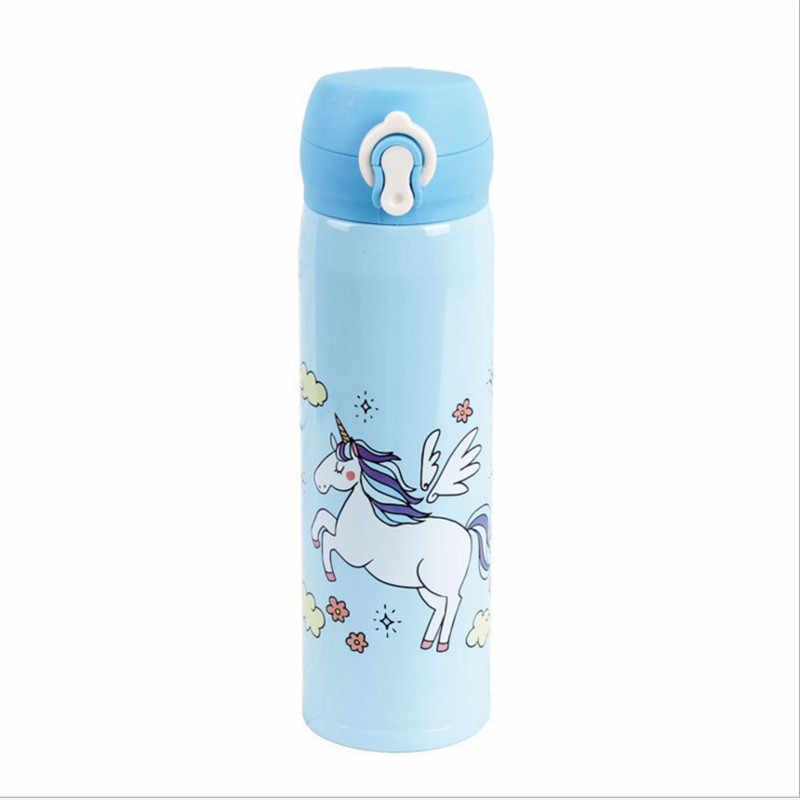 水ボトル500ミリリットル容量飲料水漫画ユニコーンステンレス鋼真空フラスコ水筒子供ギフトキッチン、w