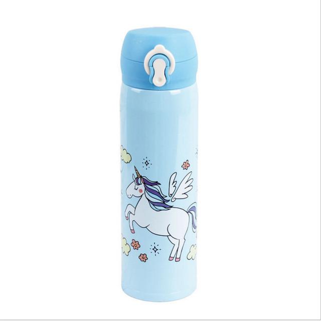 Vannflasker 500ml kapasitet drikkevann Cartoon Unicorn rustfritt stål termosflasker vann flaske Kids Gift Kjøkken