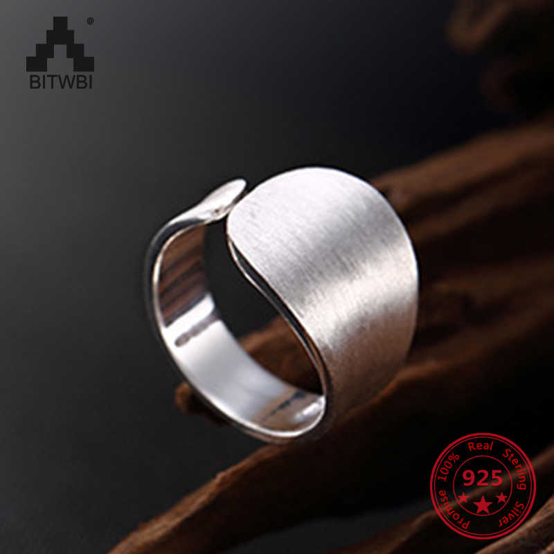 S925 Sterling Sliver Fashion Simple Ring for Men and Women Couple Finger Ring Open-loop Jewelry Gift for Lover