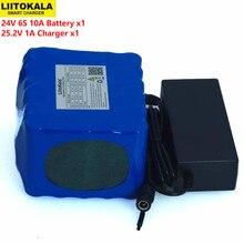 LiitoKal 24V 10Ah 6S5P 18650 pil lityum pil 24V elektrikli bisiklet Moped/elektrikli Li ion pil paketi + 25.2V 2A şarj cihazı