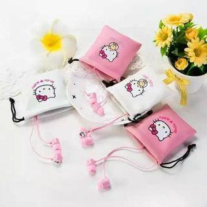 Image 2 - Auriculares intrauditivos estéreo con dibujos de Hello Kitty, color rosa, bonitos, de 3,5mm, con micrófono, para teléfono con bolsa de almacenamiento
