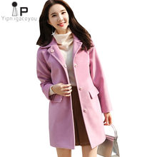 Autumn Long Wool Coat Women Pink Jacket Korean Plus size Long sleeve Winter Warm Blend Woolen Coat 2018 Fashion Ladies Overcoat(China)