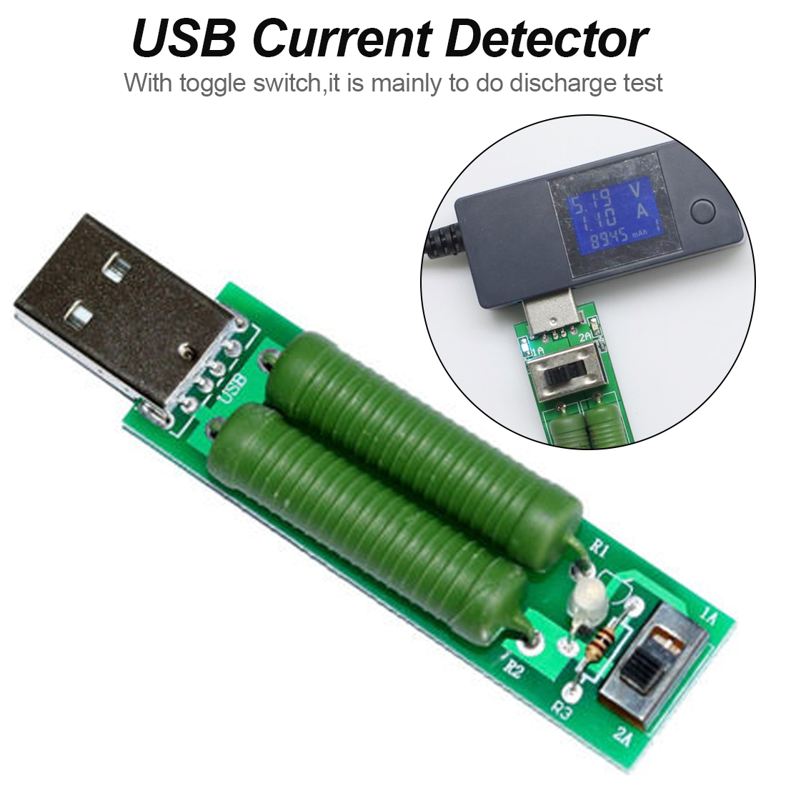 1PC USB Mini Discharge Interface Load Resistor with Switch 2A 1A Green