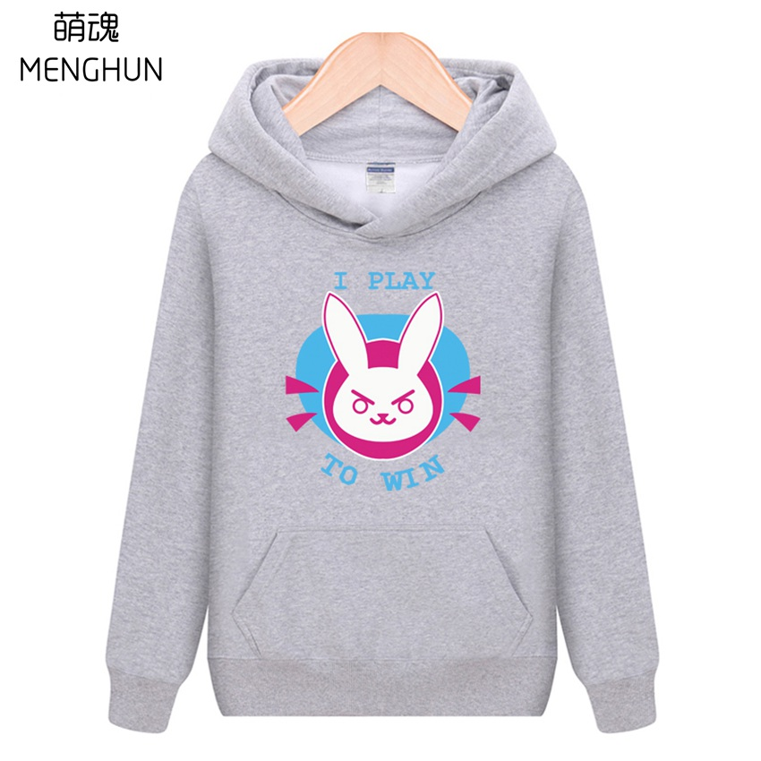 Cool game fans gift OW DVA hoodies D.va I play to win lovely printing unisex cotton hoodies warm Winter costume ac723 black red