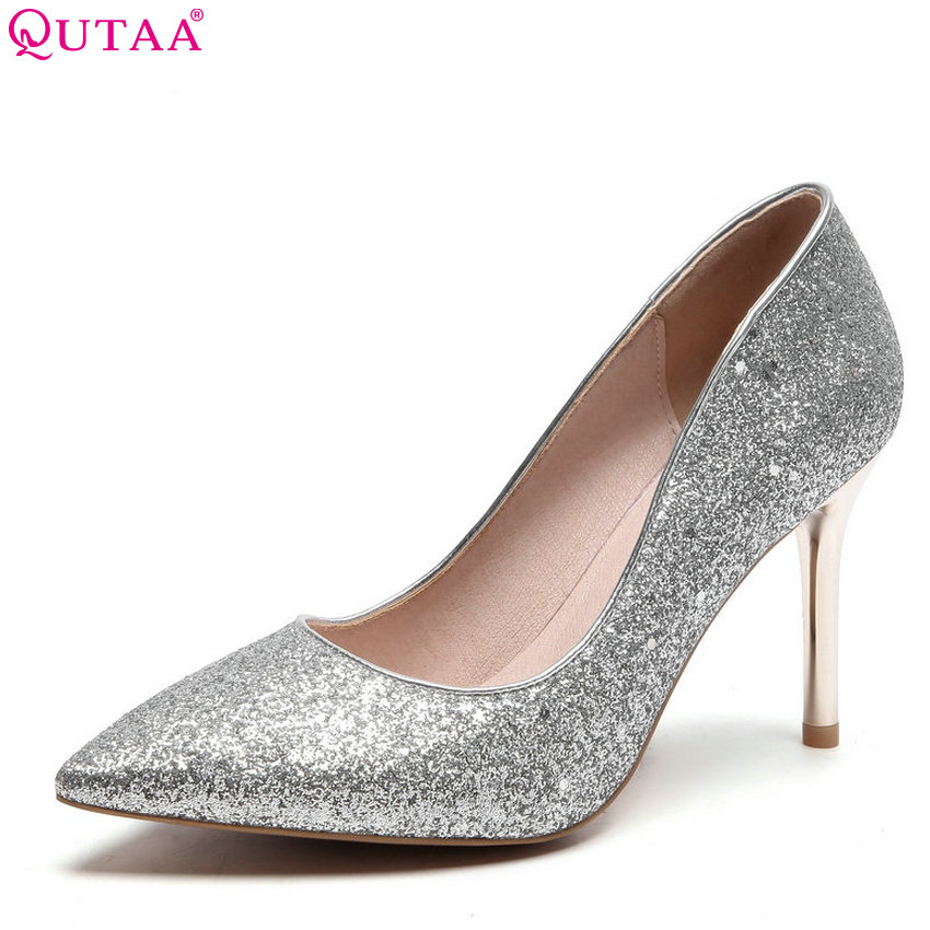 QUTAA 2018 Women Pumps Pu Leather Bling Fashion Women Shoes Slip on Thin High Heel Pointed Toe Ladies Wedding Pumps Size 34-43 nesimoo 2018 women pumps pointed toe thin high heel genuine leather butterfly knot ladies wedding shoes slip on size 34 39