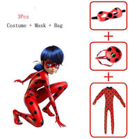Emmababy Girls Cartoon Film Cosplay Clothes Set Miraculous Ladybug Cosplay Costume Mask Bag Jumpsuit Tight Fancy