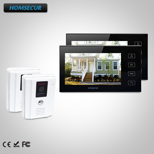 HOMSECUR 7 Wired Video Door Entry Security Intercom with Dual-way Intercom TC011-W Camera +TM704-B Monitor