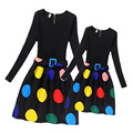 Mother and Daughter Dress Girls Dots Dresses Monsoon Girls Children Clothing Teenage Dress for Big Girl Spring 2017 Costume