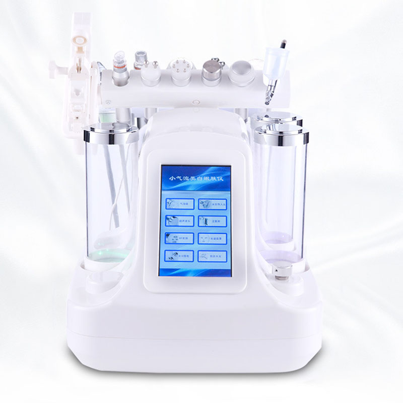 Preço de fábrica para 6 em 1 Pequena Bolha Ultra-sônica RF Cuidados Com A Pele Dispositivo 7 em 1 Hidra Facial Profunda Dos Poros máquina de Massagem Facial limpo