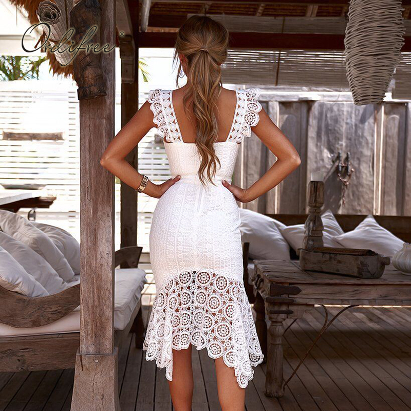 Ordifree 2019 Summer Women <font><b>White</b></font> Lace Party <font><b>Dress</b></font> Spaghetti Strap Elegant Lady Sleeveless <font><b>Sexy</b></font> Bodycon Long <font><b>Dress</b></font> image