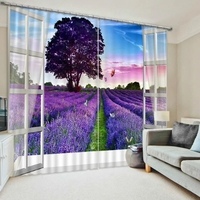 Fantasy Purple Lavender 3D Blackout Curtains For Bedding room Living room Romantic Drapes Cotinas para sala