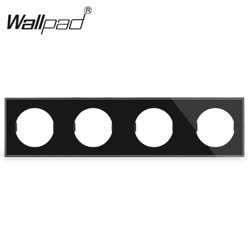 DIY Customization 4 Gang White Black Glass Frame Plate For L6 Wall Light Switch Socket InsertsDIY Customization 4 Gang White Black Glass Frame Plate For L6 Wall Light Switch Socket Inserts