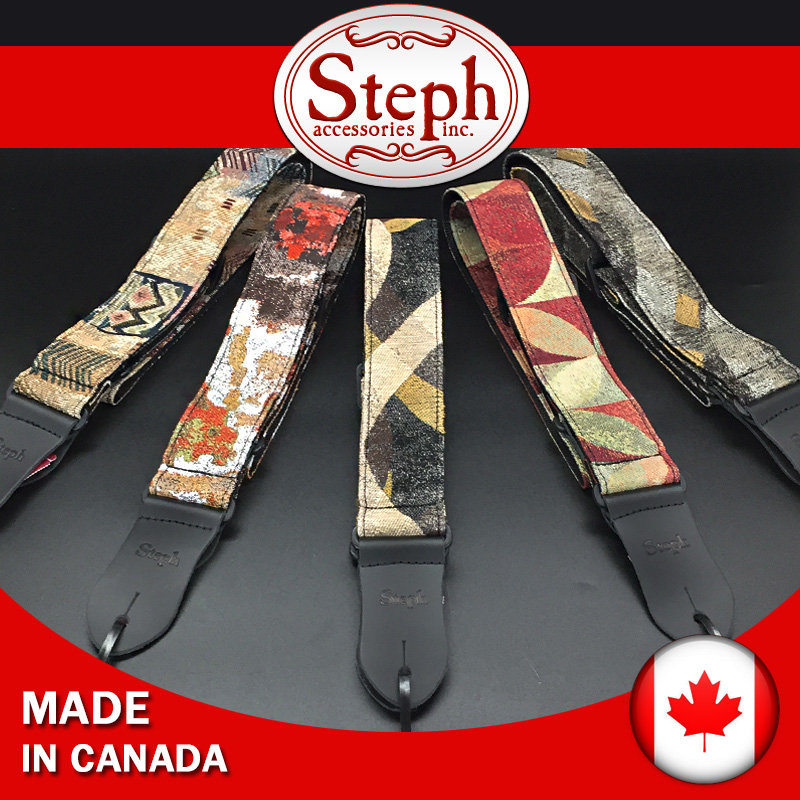 Steph Collection TAP-2412 Tapestry Guitar Strap with 9 Patterns Available, Made in Canada amumu traditional weaving patterns cotton guitar strap for classical acoustic folk guitar guitar belt s113
