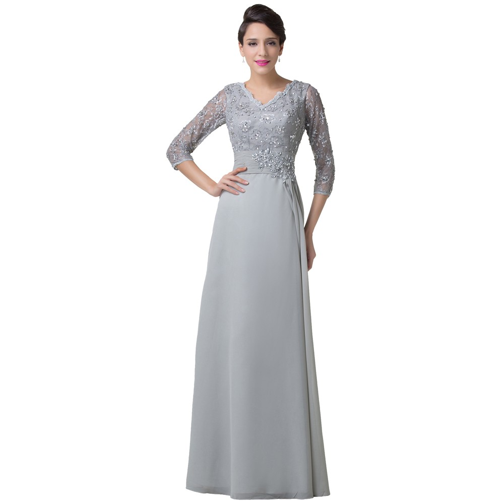 a435d444fcb ... Mother Of The Bride Dresses Grey With Sleeves Chiffon Elegant Women Formal  Evening Gowns Special Occasion ...