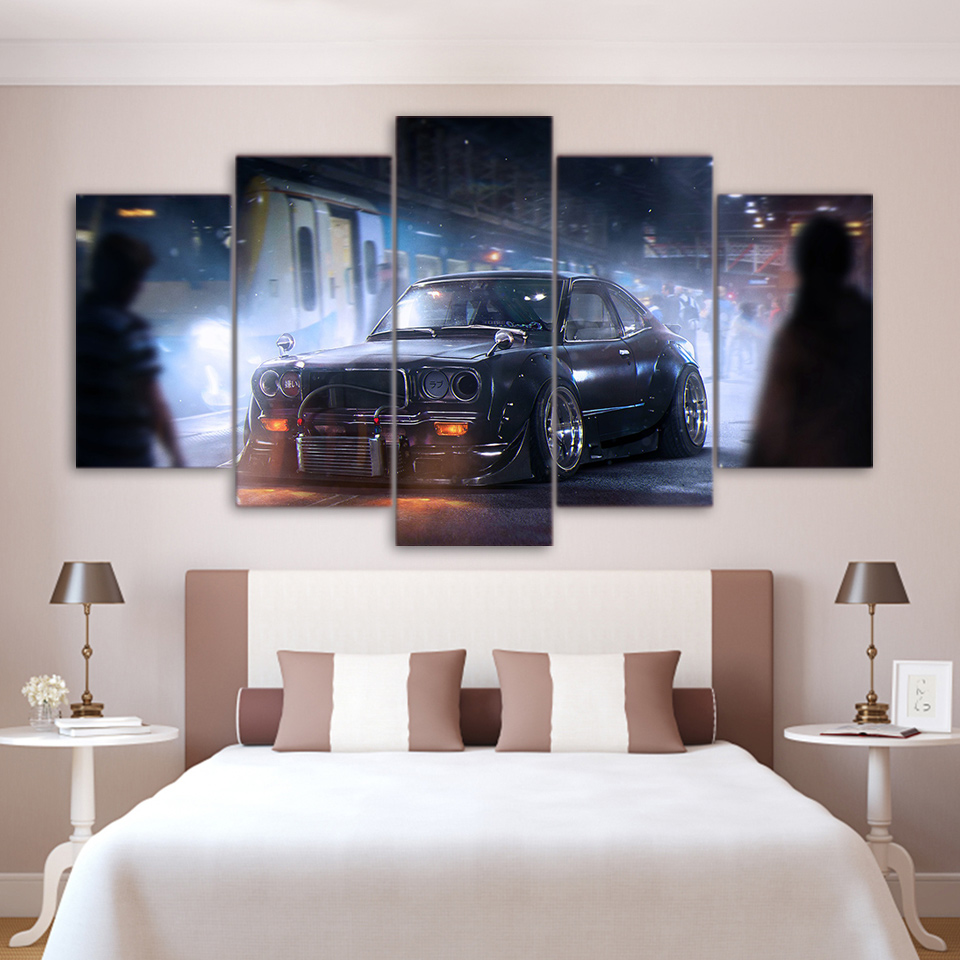Modern Canvas Painting Home Decor For Living Room Frames 5 Pieces Vintage Sports Car Classic Pictures Wall Art HD Printed