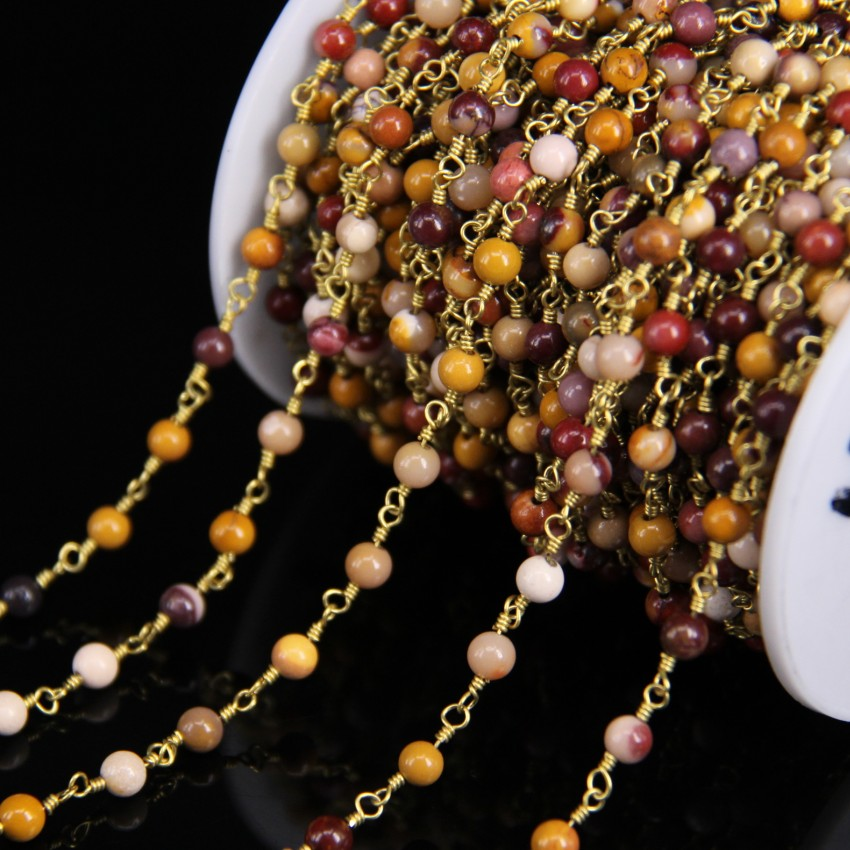 5 Meter 4mm Natürliche Rot Gelb Mookiate Stein Runde Perle Kette ...