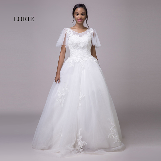 LORIE Vintage Plus Size Wedding Dresses Lace Short Sleeve V Neck ...