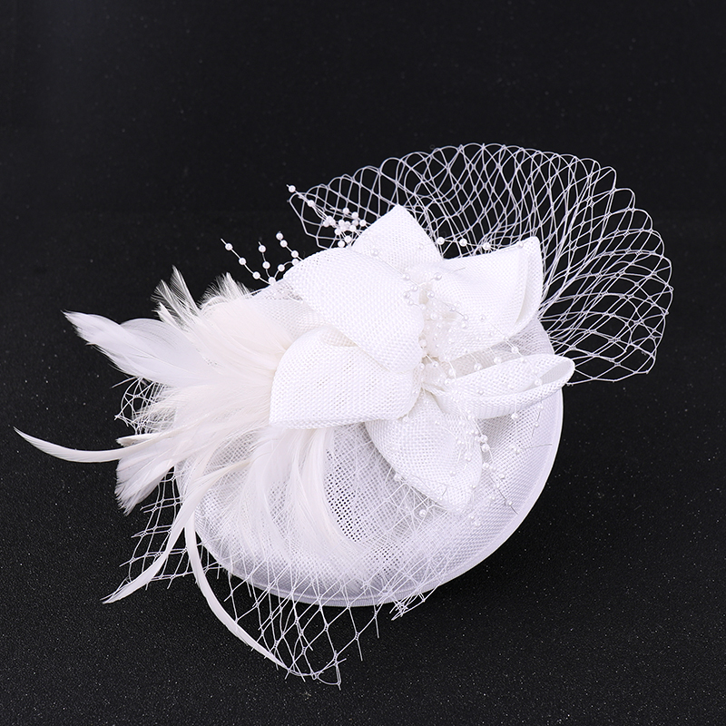 Fashion White Red Women Mesh Hat Ribbons And Feathers Wedding Hats Fascinator Face Veils For Bridal Headwear Wedding Accessories