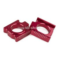 Red CNC Billet Scaled Rear Axle Blocks For Honda CRF250R CRF250X CRF450R CRF450X