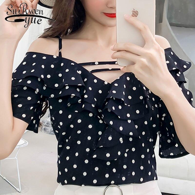 fashion woman   blouses   2019 sexy dot chiffon women   blouse     shirt   summer short sleeve women tops blusas feminine   blouses   0282 40