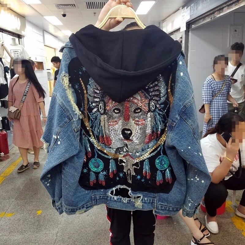 Streetwear paillettes loup Totem veste en jean à capuche femmes 2019 trous vintage jeans chaqueta mujer BF lâche jaqueta feminina ceket