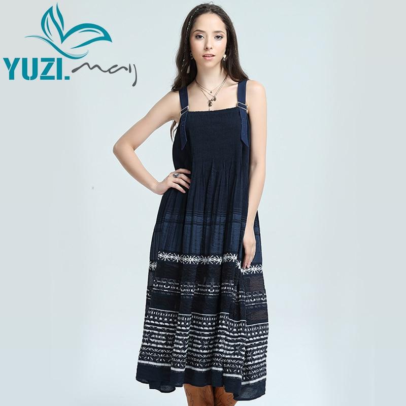 Women Dress 2017 Yuzi may Boho New Polyester Cotton Vestidos A Line Embroidery Strapless Adjustable Girdle