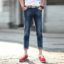 New arrival men's ankle-length jeans pants fashion scratched slim fit male cropped jeans blue casual pencil denim jeans for men