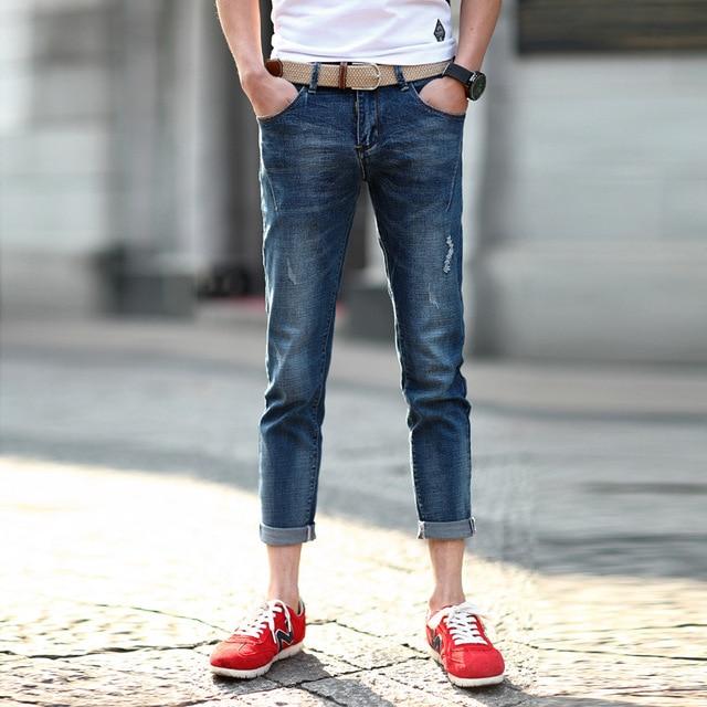 8358eb5722b4 New arrival men's ankle-length jeans pants fashion scratched slim fit male cropped  jeans blue casual pencil denim jeans for men
