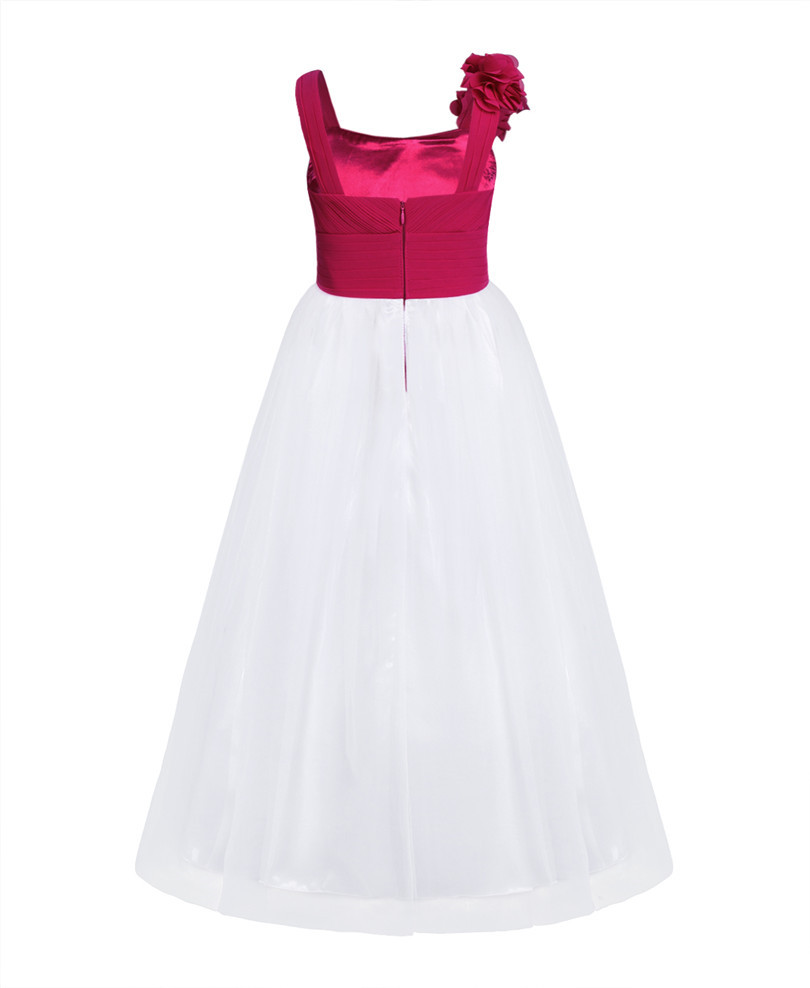 Long Chiffon Burgundy Flower Girl Dress Fashion Trendy Shop
