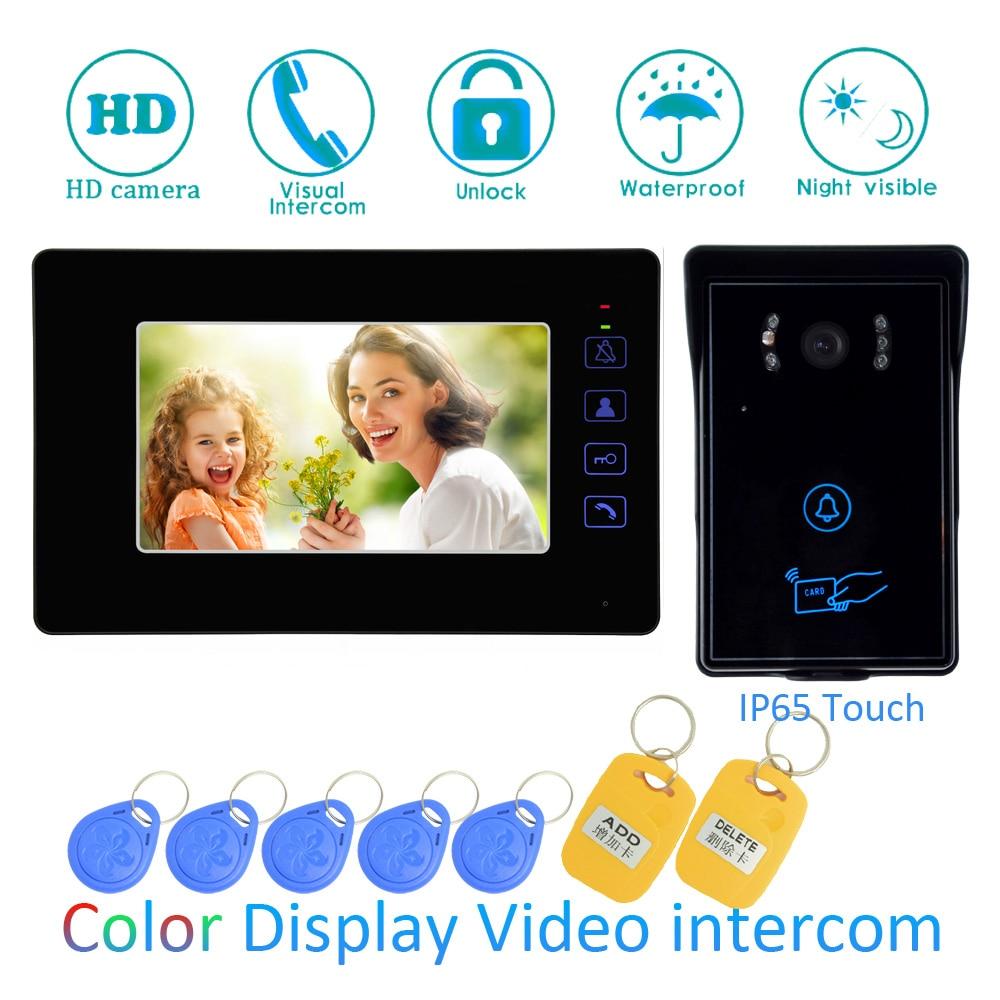 7 Inch Touch panel LCD display Video door Phone Smart Home intercom system RFID Card Door